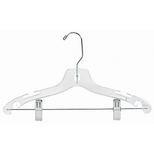 "14"" Clear Plastic Children's Combination Hanger w/ Clips"