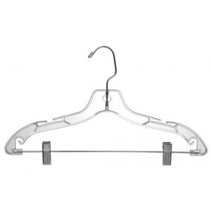 Clear Plastic Combination Hanger w/ Clips